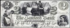 2 Dollar Bank Note, Maine,  1861. The central image on this bank note depicts workers at one of the many cotton mills in Lowell, Massachusetts.