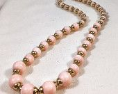 Pink and gold necklace, vintage Avon pastel pink beaded necklace, pink necklace, pink lucite bead necklace