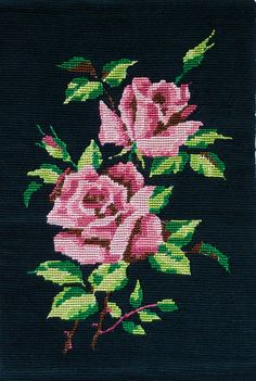 Vintage Finished / Completed Needlepoint - Pink Roses on Black Background - Wall Hanging Home Decor Paris Canvas, Vintage Embroidery, Canvas Size, Pink Roses, Needlepoint, Needlework, Cross Stitch, Geek Stuff, Beanies