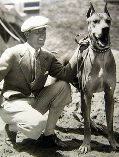 "Harold Lloyd with one of his beloved Great Danes - most probably ""Prince"" - c. Late 1920s"