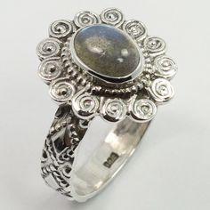Indian Artisan Ring Size UK O 1/2 Real LABRADORITE Gemstone 925 Sterling Silver #SunriseJewellers #Fashion