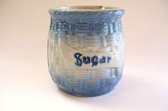 Antique Blue and White Stoneware Pottery Sugar Jar Crock Basketweave Molded by okanaganvintage on Etsy