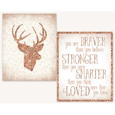 Some seriously girly happening here with rose gold glitter and pink! The Girls Nursery Deer Inspirational set with deer head and you are braver quote. Bambi Nursery, Deer Nursery, Gold Nursery, Nursery Room, Glitter Nursery, Nursery Themes, Nursery Ideas, Bedroom Ideas, Nursery Inspiration