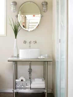 Coming soon to our bathroom...love the kitchen supply shelf and marine inspired lights