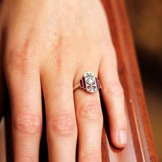 This Stunning, Vintage-Inspired Platinum Ring Features Custom Cut Rubies And Round Brilliant Diamonds. Antique Diamond Rings, Ruby Diamond Rings, Diamond Wedding Rings, Diamond Jewelry, Jewelry Rings, Jewelery, Jewelry Accessories, Fine Jewelry, Uncut Diamond