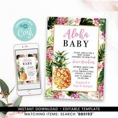 Pineapple Baby Shower Invitation Printable Printable Baby Shower Invitations, Baby Shower Printables, Baby Shower Games, Baby Boy Shower, Flamingo Baby Shower, Baby Shower Winter, Gold Baby Showers, Gender Neutral Baby Shower, Baby Shower Decorations