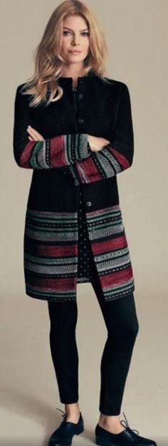 Ideas For Crochet Sweater Coat Shops Crochet Jacket, Crochet Cardigan, Knit Crochet, Knitting Designs, Knitting Stitches, Knitting Patterns, Sweater Coats, Sweaters, Coat Patterns