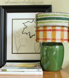 Hand painted felt in stripes and plaids  At Home on the Bay: DIY: Anthropologie Inspired Pendant Shade