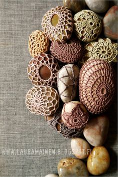 Crocheted Lace Stones - not sure what the point of these is, but they are kind of pretty.