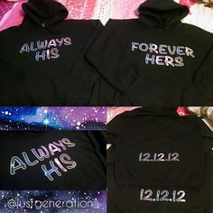 Matching His & Hers Couple Hoodies w/ Custom Date