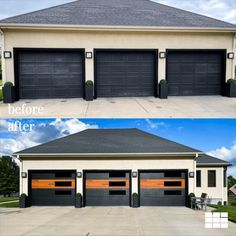 Now THIS is a transformation! These homeowners added Cedar sections to their black Planks doors to create a custom, one-of-a-kind look. What do you think? 👀 Big thanks to Garage Door Place in Manhattan, KS for sharing photos of this unique install with us! Shown: Planks in Black with one 'Cedar' section. Custom Garage Doors, Garage Door Windows, Modern Garage Doors, Custom Garages, Windows And Doors, Garage Transformation, Black Window Frames, Garage Door Installation, Garage Door Makeover