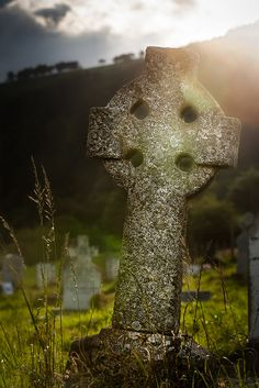 Celtic cross at Glendalough, County Wicklow, Ireland.