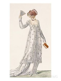 Ladies Evening Dress, Fashion Plate from Ackermann's Repository of Arts, Pub… Jane Austen, 1800s Fashion, Victorian Fashion, Vintage Fashion, Regency Dress, Regency Era, Retro Mode, Mode Vintage, Historical Costume