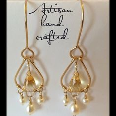 """Stunning 14KGF citrine & pearl chandelier earrings These are real beauties! Artisan made with high quality citrine briolette gemstones and creamy white natural pearls. Measure 2.75"""" long. These have really nice sparkle and movement. Perfect for Spring! Michelle V. Gems Jewelry Earrings"""