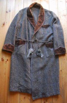 Vintage-Brown-Velvet-Trimmed-Herringbone-Tweed-Wool-Dressing-Gown-Smoking-Jacket