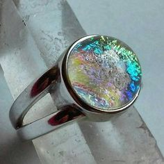 Cremation Jewelry Ring Sterling Silver Ashes InFused Glass Memorial Urn