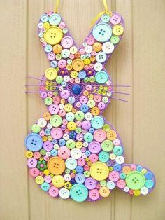 Guirlanda coelho de botões Button Bunny - Mesh bunny frame Tem botões sobrando?
