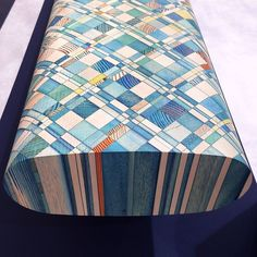 Blue bench design by Raw Edges Design Studio, the endgrain bench @decorex_international by @rawedgesdesignstudio featuring in the Future Heritage installation at #decorex #decorex2015 #londondesignweek #ldf15 #interiordesign #rawedges #futureluxury #makingluxury #decorexnew #endgrain