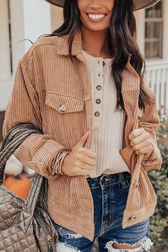 Coats For Women, Jackets For Women, Fall Outfits, Cute Outfits, Fashion Outfits, Beautiful Outfits, Cute Jackets, Corduroy Jacket, Jacket Style