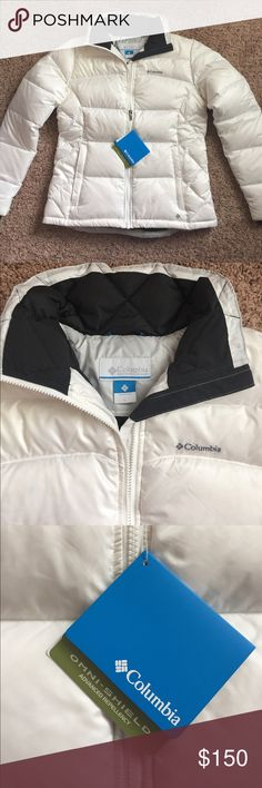 NWT Columbia No Fallin' Down Jacket Large NWT Women's Columbia No Fallin' Down Jacket. Chalk Color.  Large.  Never Worn, Pet free, Smoke free home. Columbia Jackets & Coats