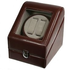 Just arrived TOP QUALITY LEATHER AUTOMATIC DOUBLE WATCH WINDER BOX PI-BRN