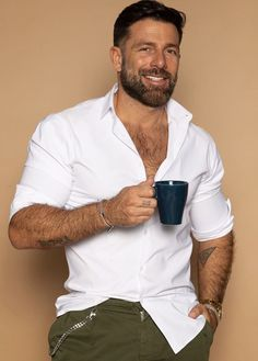 Hairy Hunks, Hairy Men, Scruffy Men, Handsome Man, Men Coffee, Hommes Sexy, Bear Men, Sexy Shirts, Older Men