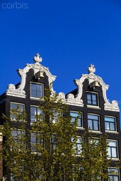 Ornate gabled houses, Amsterdam, Netherlands, Europe -