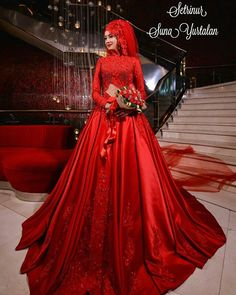 Maroon Gowns, Purple Gowns, Beige Dresses, Satin Dresses, Red Gowns, Peach Gown, Red Frock, Stylish Gown, Muslim Wedding Dresses