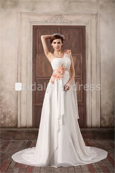 Ruffles A-Line Summer One-shoulder Court Train New Arrival Wedding Dresses #weddinggown #chiffonweddingdress #beachweddingdress