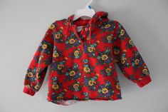 1990s Floral Baby Hoodie Sunflower Red Drawstring Toddler Flowers Gap 18-24 months 2T Girl Sweatshirt Vintage