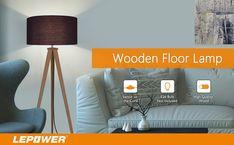 LEPOWER Wood Tripod Floor Lamp, Black Lamp Shade Standing Light with E26 Lamp Base, Modern Design Reading Light for Living Room, Bedroom, Study Room and Office - - Amazon.com