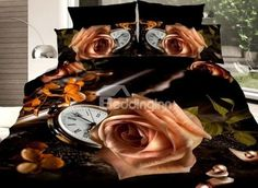 Attractive Rose and Clock Print 4-Piece Polyester #3D Duvet Cover #bedding #bedroom