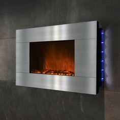 "GoldenVantage 36"" Wall Mount Stainless Steel Electric Fireplace WF-510GPB-GV,    #GoldenVantage,    #WF510GPBGV,    #ElectricandGelFuelFireplaces"