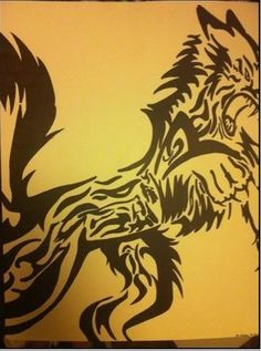 Disclaimer: This image was found off the internet and I copied it's image. I do not know who or where this original idea came from. Title: Monster Within. Wolf was copied from an image in the internet. I was learning how to do tribal art with sharpie so I copied the image. Love the way the shapes and movement work with it the create this broken image.