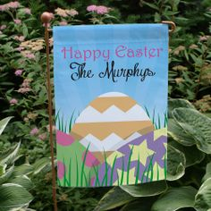 """Personalized #Easter Eggs Garden Flags. This Personalized Easter Garden Flag is the best way to celebrate the season with its array of colors and wonderful look. Let this festive Easter Flag become your favorite accent piece in the yard or garden. Your new Personalized Spring Garden Flag is printed on one side and measures 12 1/2"""" x 18"""". Free personalization of any one line custom message is included."""