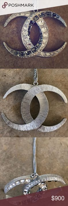 "Chanel crescent moon necklace This remarkable necklace boasts the moon shaped DUBAI inter-locking CC's EXACTLY as seen on the CHANEL RUNWAY. The collection is simply perfection and was a huge sensation all over the world. So much so, CHANEL sold out instantaneously.   This necklace is difficult to find because of the 24"" long chain, silver color solid, sculpted/carved weighty logo adorned in crystals on one side.  2 X 1.5"" interlocking Crystal   No box. CHANEL Jewelry Necklaces"