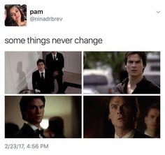 ♡ Delena / Damons Face when Elena enters the scene