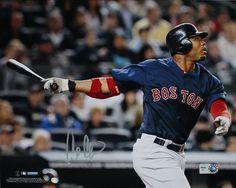 Carl Crawford Boston Red Sox Blue Jersey Hit Horizontal 8x10 Photo (MLB Auth)