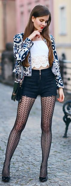 Hep I Have Nothing To Wear Black And White Patterns Mix And Lace Outfit Idea
