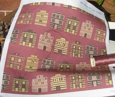 'Minoan houses' printed on linen-cotton by Spoonflower (V2.1 color). Design modeled on miniature faience plaques in the style of the stone, clay & timber-framed houses of ancient Crete. © Su Schaefer 2012