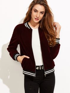 Online shopping for Burgundy Velvet Bomber Jacket With Striped Trim Detail from a great selection of women's fashion clothing & more at MakeMeChic.COM.