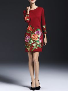 Burgundy A-line Long Sleeve Floral Embroidered Midi Dress