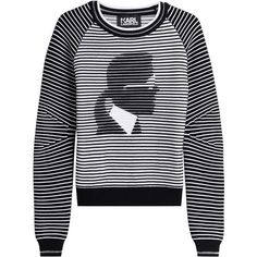 Karl Lagerfeld Cotton Blend Pullover (18.705 RUB) ❤ liked on Polyvore featuring tops, sweaters, black, patterned sweaters, relaxed fit tops, round neck crop top, print pullover and crop top