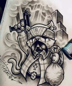 Chicano Tattoos Sleeve, Chicano Style Tattoo, Line Art Tattoos, Tattoo Flash Art, Mr Cartoon Tattoo, Arte Cholo, Chicano Drawings, Gangster Tattoos, Full Sleeve Tattoo Design