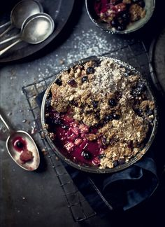 rhubarb, peach & berry pie with vanilla almond crumble