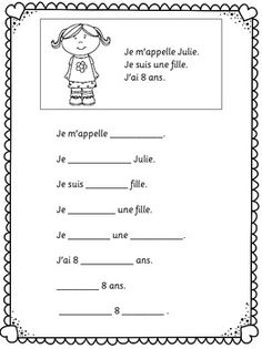 Je me presente. Easy worksheets for young and beginning learners of French. Study French, French Kids, Core French, French Language Lessons, French Language Learning, French Lessons, Spanish Lessons, Spanish Language, French Teacher