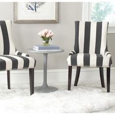 Shop for Safavieh En Vogue Dining Lester Charcoal/ White Awning Stripes Silver Nailhead Side Chairs (Set of 2). Get free shipping at Overstock.com - Your Online Furniture Outlet Store! Get 5% in rewards with Club O!