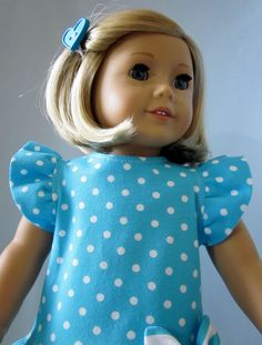 American Girl Doll Clothes - Turquoise and White Knit Dress and Leggings. $20.00, via Etsy.