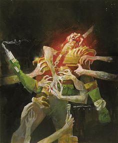 Bill Sienkiewicz - Judge Dredd- City of the Damned Graphic Novel Cover Original Art (Titan, 1986) by Aeron Alfrey, via Flickr
