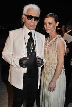 Front Row at Chanel Resort 2015   Karl Lagerfeld and Vanessa Paradis